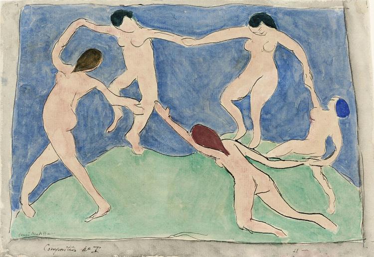 Henri Matisse - 142c La danse ( composition N°1) - Эскиз к панно «Танец» - encre et aquarelle sur papier - 1909 - 22,1x32 - Envoyé par courrier de Matisse à Chtchoukine le 11 mars 1909 - inv. Pouchkine r10449