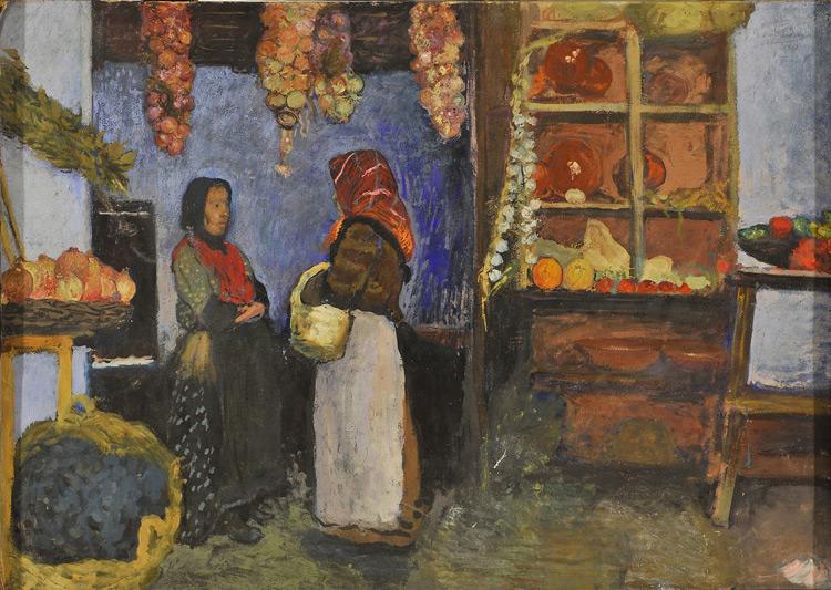 Charles Milcendeau - 145 Fruiterie - фруктовая лавка - huile sur carton - 1901 = 50x70 - Acquis vers 1904? - cat. 1913, 131 - Musée de Bakou depuis 1948
