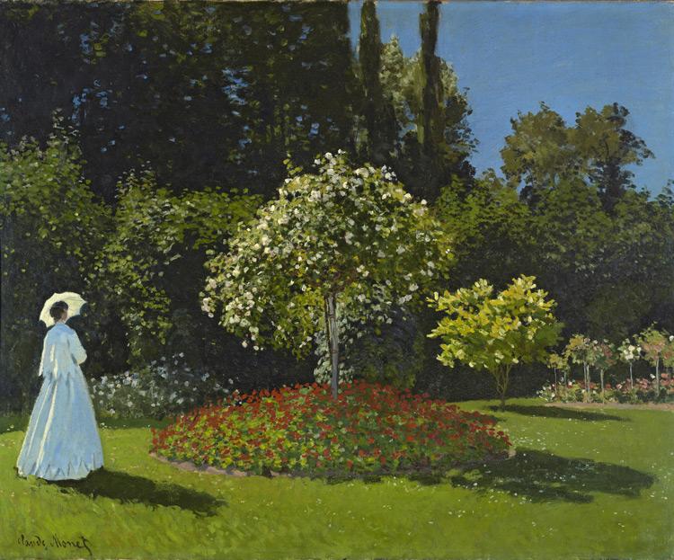 Claude Monet - 147 Une dame dans un jardin - Дама в саду - 1867 - 82,3x101,5 - Acheté par Piotr chez Durand-Ruel, 20 avril 1899, 7500 f  -   Acheté par Sergueï à Piotr en 1912 - cat. 1913, 139 - inv. Ermitage 6505