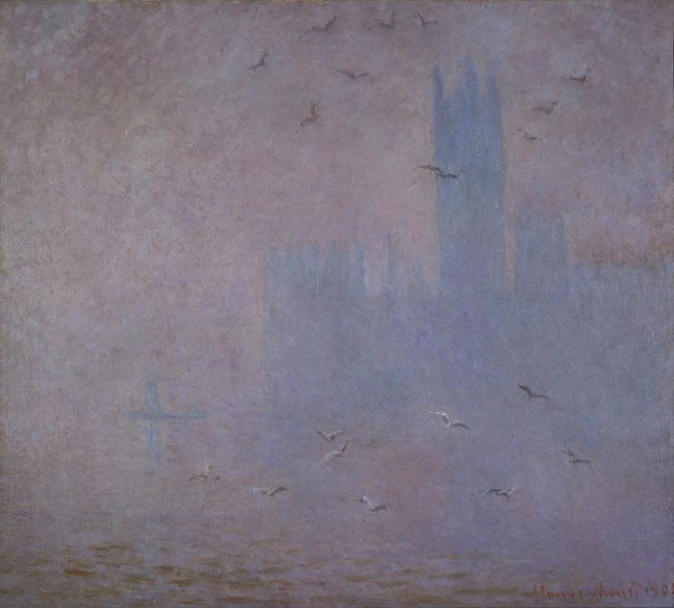 Claude Monet - 158 Les mouettes, le parlement de Londres - Чайки. Река Темза в Лондоне. Здание парламента - 1904 - 82x92 - Acquis chez Durand-Ruel, 26 novembre 1904, 18 000 f - cat.1913, 132 - inv. Pouchkine J 3306