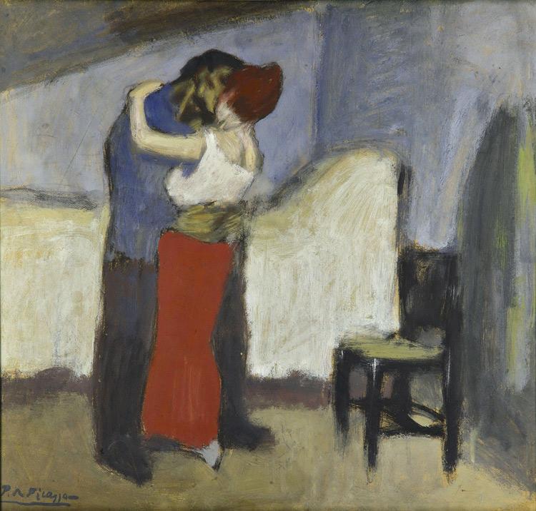 Pablo Picasso - 161 L'étreinte - Свидание - huile sur carton - 1900 - 52,5x55,7 - Acheté à l'atelier, début 1913 - cat. 1913, 182 - inv. pouchkine J 3322