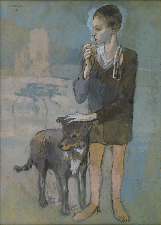 Pablo Picasso - 162 Garçon au chien - Мальчик с собакой - gouache sur carton - 1905 - 57,2x41,2 - Acquisition 1911/12? - cat. 1913, 181 - inv. E 41158