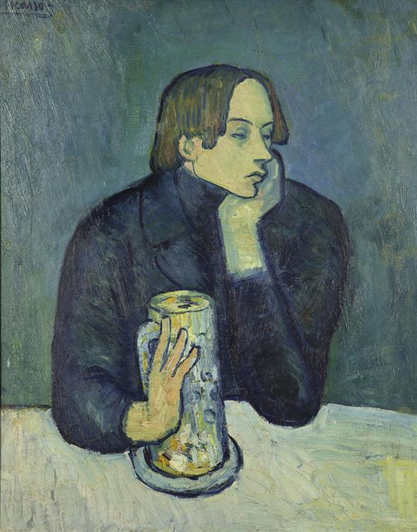 Pablo Picasso - 164 Le bock (portrait de Sabartès) -  Портрет поэта Сабартеса - Paris automne 1901 - 82x66 - Kahnweiler 1912 ? - cat.1913, 158 - inv. Pouchkine J 3317