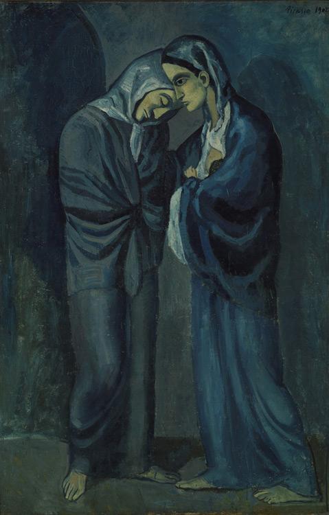 Pablo Picasso - 166 Les deux sœurs (l'entrevue) - Две сестры (Свидание) - huile sur bois - Barcelone 1902 - 152x100 - Acheté à Vollard 1910/11? - cat. 1913, 159 - inv. Ermitage 9071