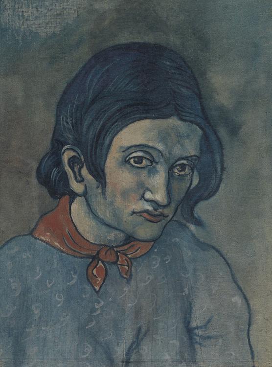 Pablo Picasso - 167 Tête de femme au mouchoir - Голова женщины (Портрет Женевьевы) - toile marouflée sur carton - 1903 =50x36 - Acquis 1911/12 ? - cat. 1913, 179 - inv. Ermitage 6573