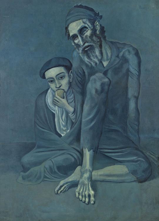 Pablo Picasso - 168 Le vieux juif - Старый еврей с мальчиком (Слепой нищий с мальчиком) - Barcelone, automne 1903 - 125x92 - acheté chez Kahnweiler, 1912/13? - cat.1913, 160 - inv. Pouchkine J 3318