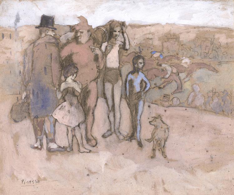 Pablo Picasso - 169 Famille de saltimbanques (Etude pour les bateleurs) - Комедианты - gouache et fusain sur carton - 1905 - 51,2x61,2 - Provenance? Vollard 1912? - cat.1913, 180 - inv. Pouchkine R 10265