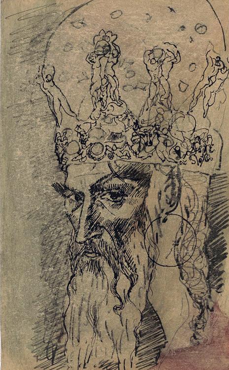 Pablo Picasso - 172 Tête de vieillard en tiare (le roi) - Голова старика в тиаре - Encre et aquarelle sur papier - 1905 - 17x10 - Kahnweiler 1914 - cat.1913, 249 ajout - inv. Pouchkine R 10266