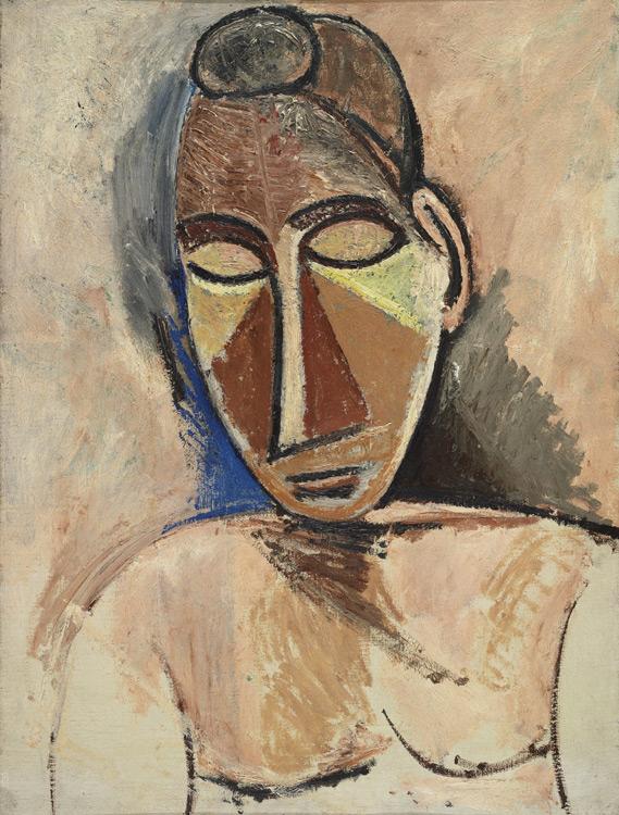Pablo Picasso - 174 Buste de femme nue - Обнаженная женщина. Погрудное изображение (Поясная фигура нагой женщины) - Printemps 1907 - 61x47 - Acheté chez Vollard, 13 septembre 1912 - cat.1913, 148 - inv. Ermitage 9046