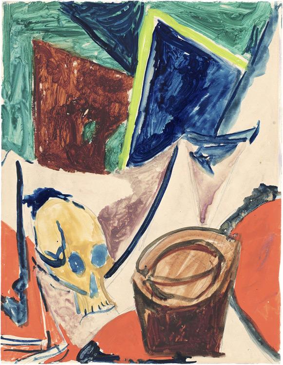 Pablo Picasso - 176 Esquisse de Composition à la tête de mort - Композиция с черепом. Этюд к картине - Aquarelle, gouache et crayon sur papier - Automne 1908 - 32x24,3 - Acquisition 1914? - cat.1913, 251 - inv. Pouchkine R 10267