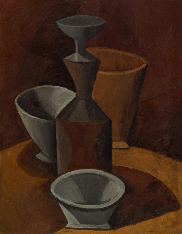 Pablo Picasso - 178 Carafon et 3 bols -  Натюрморт. Бидон и миски - Huile sur carton - Été 1908 - 66x50,5 - Acheté chez Kahnweiler, 1910/11? - cat.1913, 166 - inv. Ermitage 8986