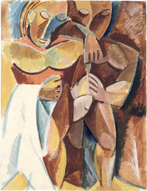 Pablo Picasso - 181 Esquisse de L'amitié - Этюд к картине «Дружба» - Aquarelle et gouache sur papier - Hiver 1907 - 60,8x46,7 - Acheté chez Kahnweiler 1912? - cat.1913, 175 - inv. Pouchkine R 10264