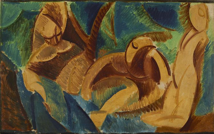 Pablo Picasso - 183 La baignade -  Купание - Été 1908 - 38,5x62,5 - Acheté chez Kahnweiler, 1910 ?-cat.1913, 156 - inv. Ermitage 8896