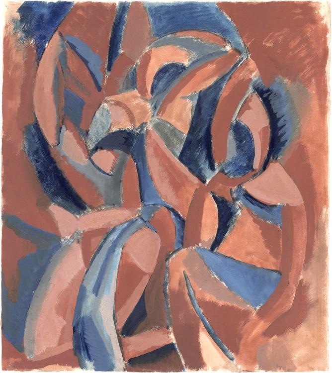 Pablo Picasso - 184 Esquisse des Trois femmes (étude pour les Stein) - Три женщины. Эскиз картины - Aquarelle et gouache sur papier - Hiver 1908 - 53x47 - Provenance 1912? - cat.1913, 167 - inv. Pouchkine R 10262