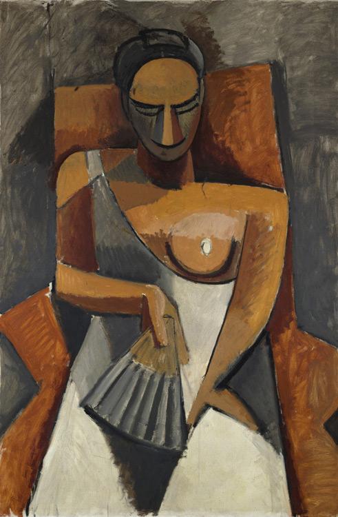 Pablo Picasso - 186 Après le bal (Femme tenant un éventail) - Женщина с веером - Été 1908 - 150x100 - Acheté chez Kahnweiler, 1911 ? - cat.1913, 163 - inv. Ermitage 7705