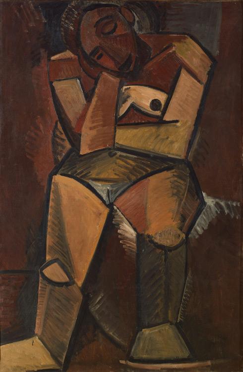 Pablo Picasso - 187 Femme assise (Femme nue assise)  - Сидящая женщина - Été 1908 - 150x100  - Acheté chez Kahnweiler, 1912 ? - cat.1913, 170 - inv. Ermitage 9163
