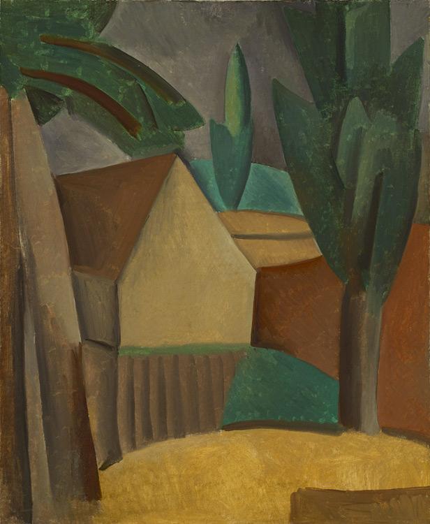 Pablo Picasso - 188 Maisonnette et arbres  - Домик и деревья ( Домик в саду) - Automne 1908 - 73x61 - Acheté chez Kahnweiler, 1912 - cat.1913, 164 - inv. Ermitage 6533