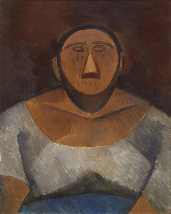 Pablo Picasso - 189 La fermière, buste - Фермерша (поясное изображение) - Automne 1908 - 81x65 - Acheté chez Kahnweiler, 1911/13 ? - cat.1913, 169 - inv. Ermitage 6531