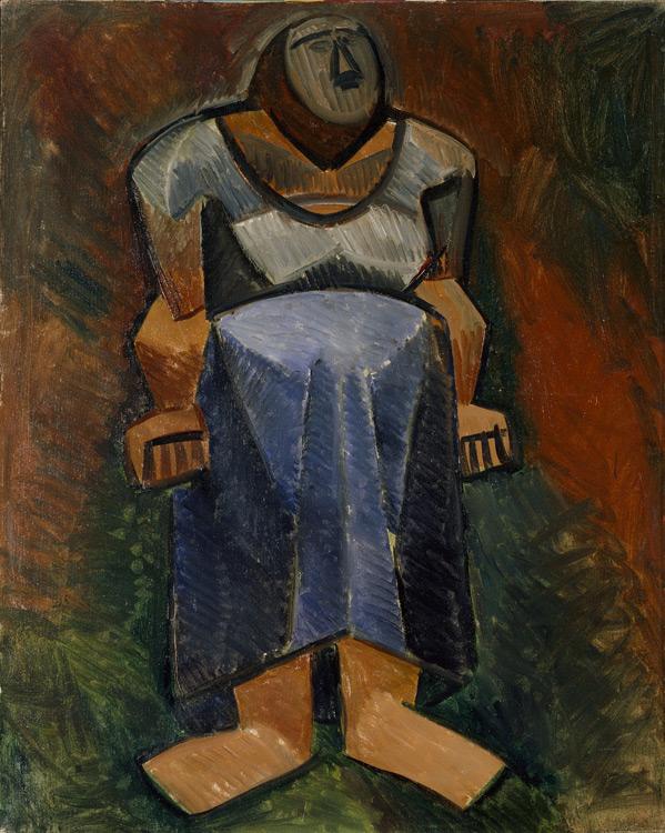Pablo Picasso - 190 La fermière en pied - Фермерша (в рост) - Automne 1908 - 81x51 - Acheté chez Kahnweiler, 1911/13 ?- cat.1913, 172 - inv. Ermitage 9161