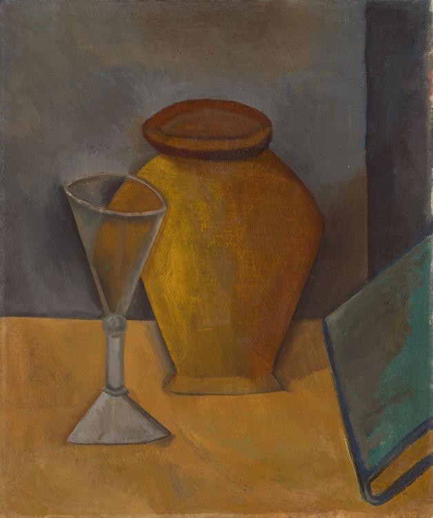 Pablo Picasso - 191 Pot, verre et livre - Горшок, рюмка и книга - Été 1908 - 55x46 - Acheté chez Kahnweiler, 1913 ? - cat.1913, 152 - inv. Ermitage 6532