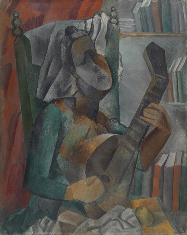 Pablo Picasso - 199 Femme jouant de la mandoline - Женщина с мандолиной - Été 1909 - 91x72,5 - Acheté à Kahnweiler début 1914 - cat.1913, 252 ajout - inv. Ermitage 6579