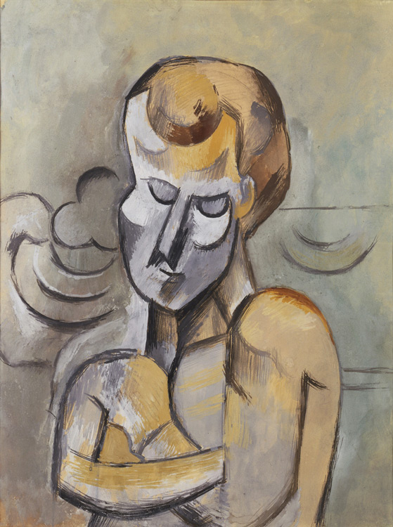 Pablo Picasso - 200 Homme nu aux bras croisés - Мужчина со скрещенными на груди руками - Gouache, aquarelle, crayon sur papier marouflé sur carton - Printemps 1909 - 62,2x49,2 - Acheté chez Kahnweiler, 1912/13 - cat.1913, 155 - inv. Ermitage OP 43481