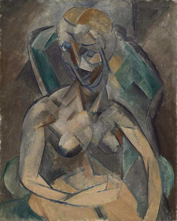 Pablo Picasso - 202 Femme nue assise dans un fauteuil - Молодая дама - Hiver 1909 - 91x72,5 - Acheté à Kahnweiler, 1913 ? - cat1913, 162 - inv. Ermitage 9159