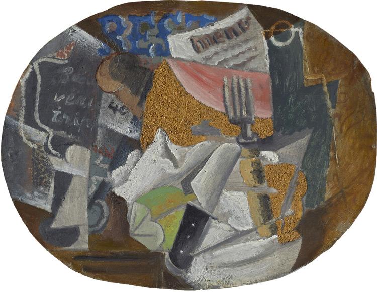 Pablo Picasso - 203 La guinguette (couteau, fourchette, menu) - Харчевня - Huile et sciure sur carton - 1912 - 38x29,5 - Acheté à Kahnweiler début 1914 - cat.1913, 247 - inv. Ermitage 8936
