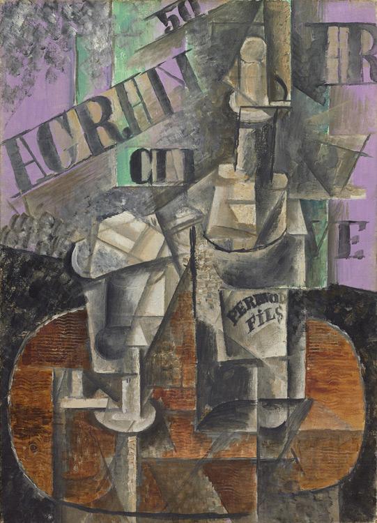 Pablo Picasso - 204 Bouteille de Pernod et verre - Столик в кафе. Бутылка перно (Кафе. Бутылка и бокал) - Printemps 1912 - 45,5x32,5 - Acheté chez Kahnweiler, 1912? - cat.1913, 150 - inv. Ermitage 8920
