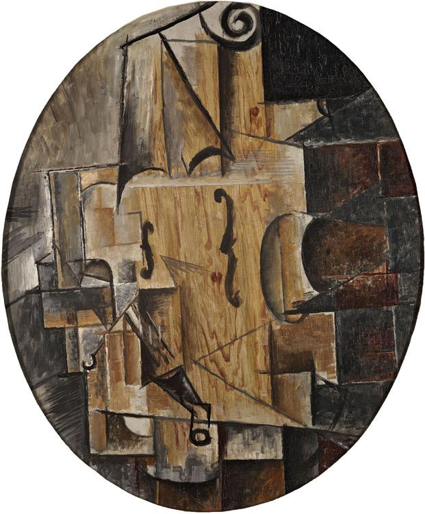 Pablo Picasso - 205 Violon (toile ovale) - Скрипка - 1912 - 55x46 - Acheté chez Kahnweiler, hiver 1912/1913? - inv.1913, 178 - cat. J 3321