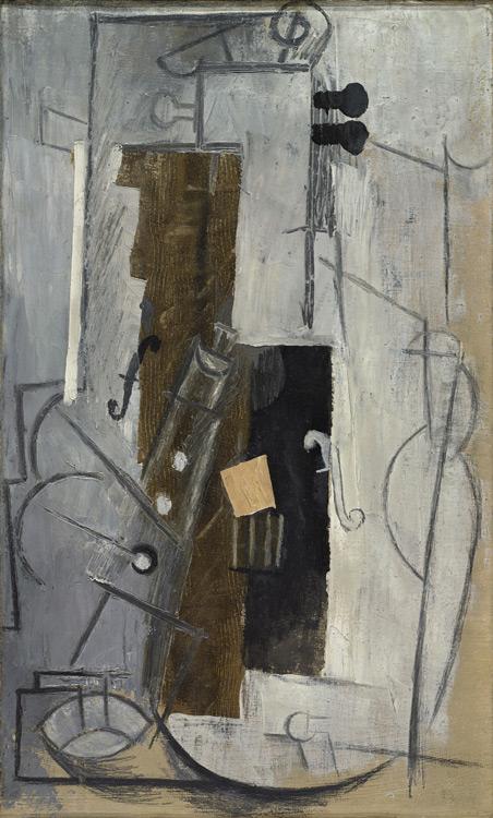 Pablo Picasso - 206 Violon et clarinette - Тенора и скрипка (Флейта и скрипка) - 1913 - 55x33 - Acheté chez Kahnweiler, 1913 ? - cat.1913, 228 - inv. Ermitage 6530