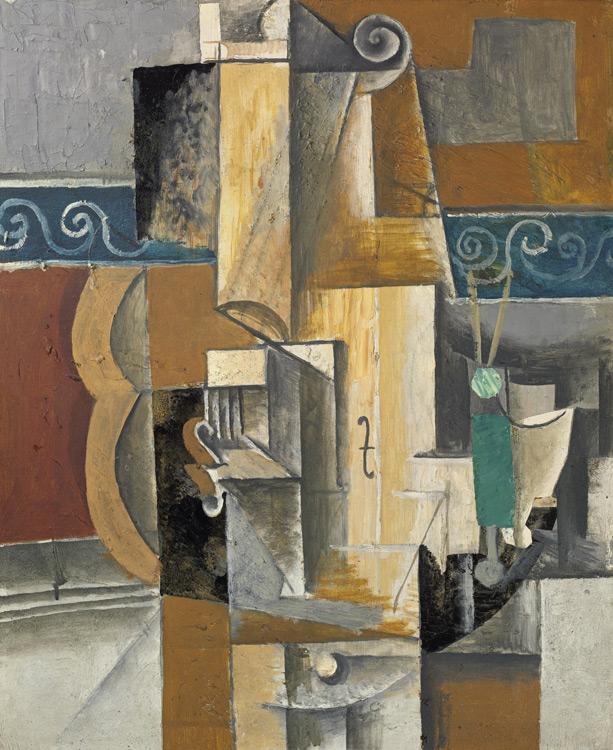 Pablo Picasso - 207 Violon et verres sur une table (violon et guitare) - Гитара, скрипка и стакан на столе- 1913 - 45,5x32,5 - Acheté chez Kahnweiler, 1913? - cat.1913, 226 - inv. Ermitage 9048