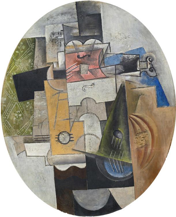 Pablo Picasso - 208 Instruments de musique - Музыкальные инструменты - Technique mixte : plâtre, sciure de bois et huile sur toile cirée ovale - 1912 - 92x80 - Acheté à Kahnweiler, 1913? - cat.1913, 227 - inv. Ermitage 8939