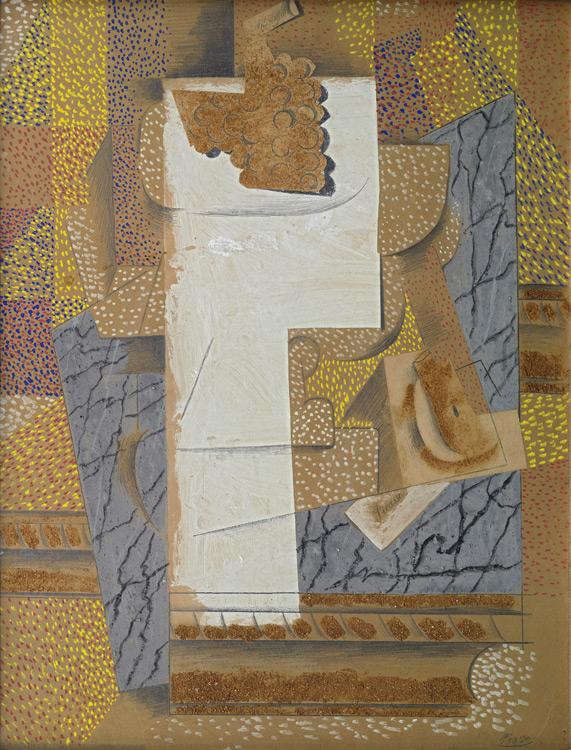 Pablo Picasso - 209 Compotier avec grappe de raisin et poire coupée - Композиция с разрезанной грушей и гроздью винограда - Papiers collés, gouache, graphite, sciure sur carton - 1914 - 67,6x52,2 - Acheté à Kahnweiler, 1914 - cat.1913, 246 ajout - inv. Ermitage OP 43789