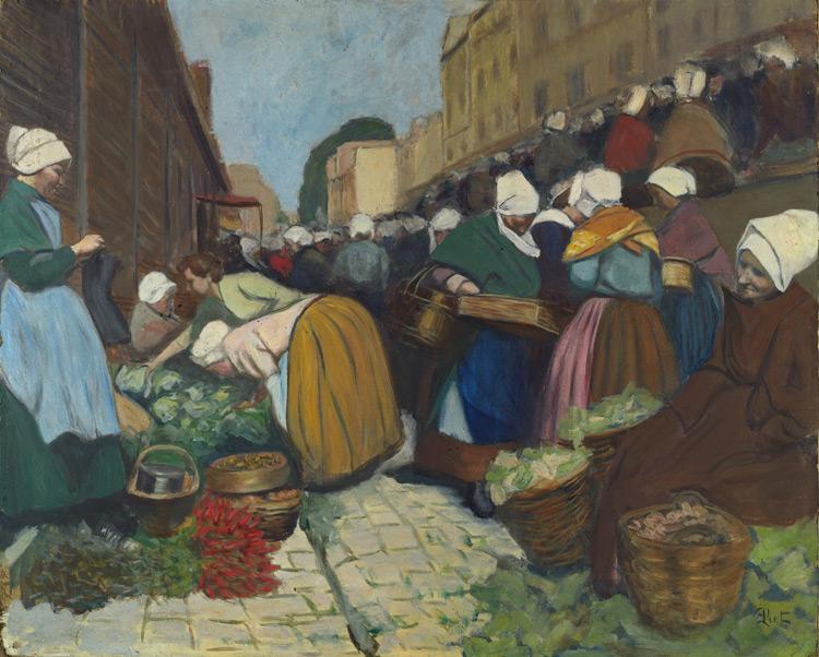 Fernand Piet - 211 Marché à Brest - Рынок в Бресте - Huile sur carton - 1899 - 64,7x80 - Acheté vers1906 - cat.1913, 147 - inv. Ermitage 8989