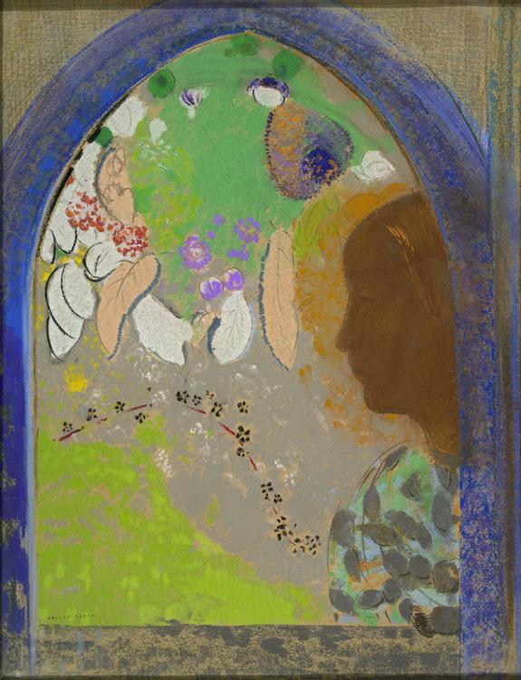 Odilon Redon - 219 Profil de femme à la fenêtre - Профиль женщины в окне - Pastel sur carton - 1903/8 - 63x49 - Durand-Ruel, 1910 ? - cat.1913, 191 - inv. Pouchkine J 3327