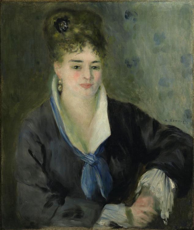 Pierre Auguste Renoir - 223 Dame en noir - Дама в черном - 1876 - 65,5x55,5 - Acheté vers 1899 / 1903 - cat.1913, 195 - inv. Ermitage 6506