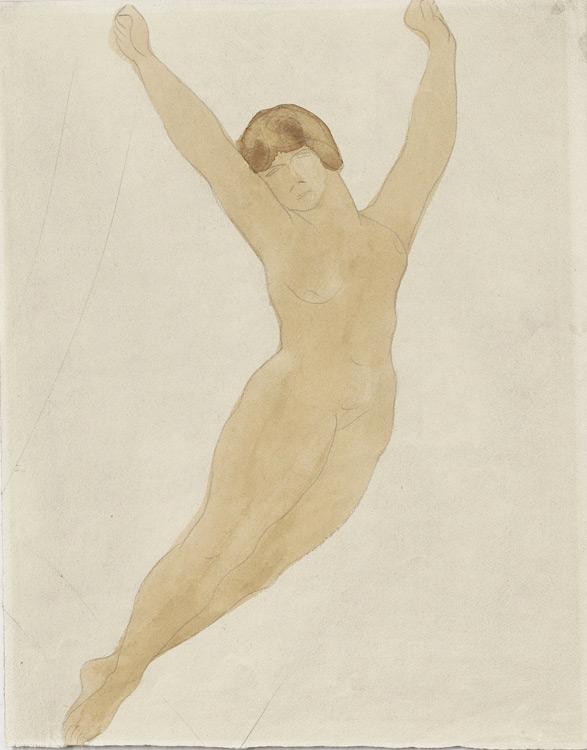 Auguste Rodin - 225 Étude de silhouette de femme s'envolant - Летящая женская фигура - Aquarelle - 32x24 - Cadeau de Rodin à Ivan Chtchoukine, reçu par Sergei à la mort de son frère en 1908 - cat.1913, 256 ajout - inv. Pouchkine R 10268