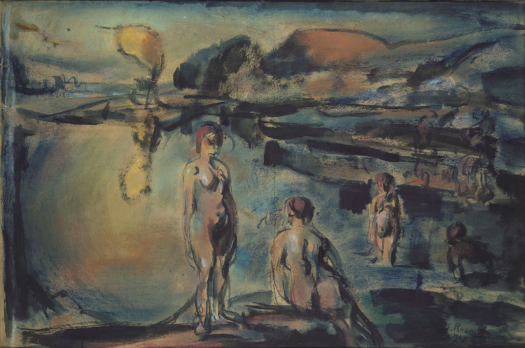 Georges Rouault - 226 Baignade - Купание в озере - Pastel et aquarelle sur papier - 1907 - 65x96 - Acquisition, Druet 1909 ? - cat.1913, 196 - inv. Pouchkine J 3331
