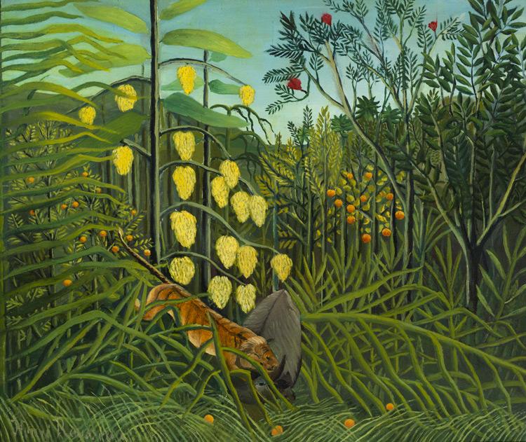 Henri Rousseau - 229 Combat du tigre et du taureau - Нападение тигра на быка. В тропическом лесу - 1908/9 - 46x55 - Acquis chez Vollard le 13 septembre 1912, 800 f - cat.1913, 198 - inv. Ermitage 6536