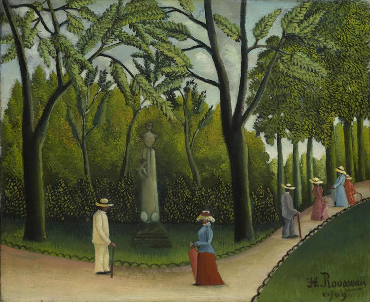 Henri Rousseau - 231 Jardin du Luxembourg, monument à Chopin - Люксембургский сад. Памятник Шопену - 1909 - 38x47 - Acheté chez Vollard en 1912 - cat.1913, 200 - inv. Ermitage 7716