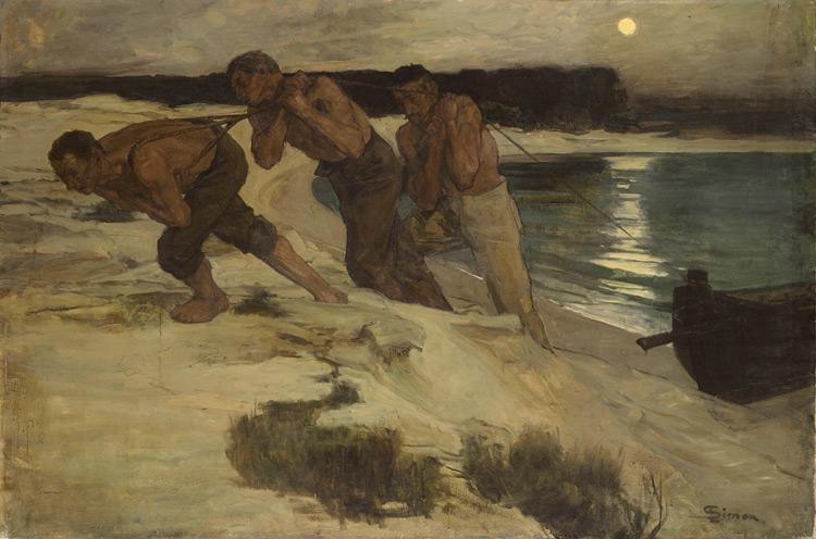 Lucien Simon - 236 Les mariniers - Судовщики - circa 1897 - 124x188 - Acquisition vers 1900 - cat.1913, 211 - inv. Pouchkine J 3340