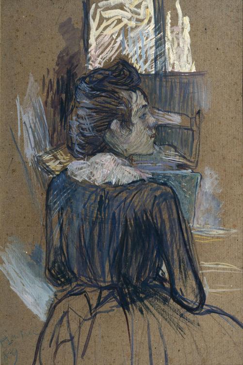 Henri de Toulouse-Lautrec - 242 Femme à la fenêtre (Étude pour le moulin de la galette) -  Дама у окна - Détrempe sur carton - 1889 - 71x47 - Acquisition vers 1900 - cat.1913, 79 - Non référencé à l'inventaire Pouchkine