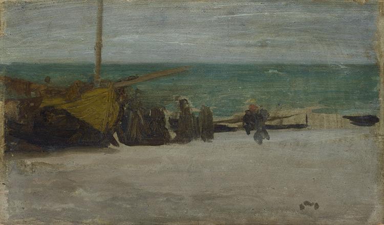 James Abbot Mac Neil Whistler - 254 Marine, arrangement en gris et noir - Берег моря: серое и черное (Серое море) - Huile sur bois - 13,6x23,6 - Provenance? Bernheim, 1900 ?-  cat.1913, 9 - inv. Ermitage 6527