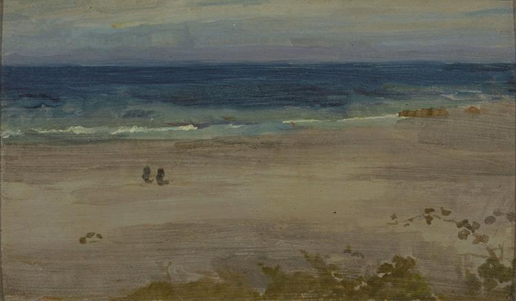 James Abbot Mac Neil Whistler - 255 Marine, arrangement en bleu et noir - Аранжировка голубого и чёрного (Голубое море) - Huile sur bois - 13,6x22,7 - Provenance, Bernheim vers 1900 ? - cat.1913, 10 - inv. Pouchkine J 3260