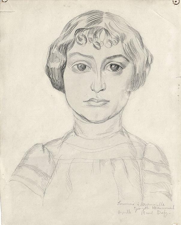 Raoul Dufy - 259 Portrait de demoiselle - Портрет Девушкы - 1926 - 31x25 - Acquis  par Sergei Chtchoukine après son installation à Paris - Confié au musée Pouchkine en 2007, par le petit-fils du collectionneur.