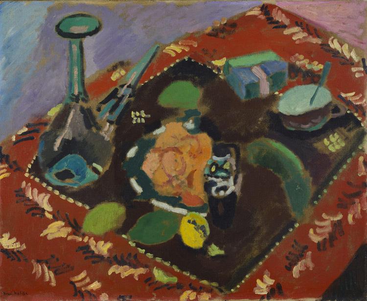 Henri Matisse - 110 Vaisselle et fruits sur tapis rouge et noir -  Посуда и фрукты на красно-черном ковре - 1906 - 61x73 - Acquis chez Druet, Avril 1908, 800f - cat. 1913, 120 - cat Ermitage 8998